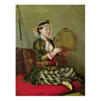 Femme turque avec un tambour de basque cartes postales