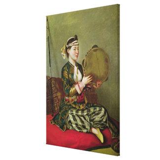 Femme turque avec un tambour de basque toile tendue