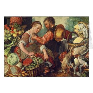 Femme vendant les légumes, 1567 (huile sur la carte de vœux