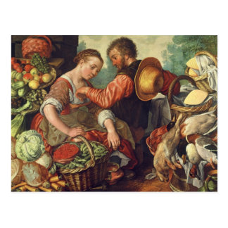 Femme vendant les légumes, 1567 (huile sur la carte postale