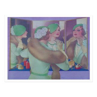 Femme vintage dans le miroir carte postale