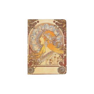 Femme vintage de Nouveau d'art Protège-passeports