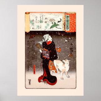 Femme vintage et chien de Kuniyoshi en beaux-arts  Affiche