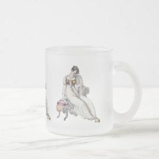 Femme vintage mug en verre givré