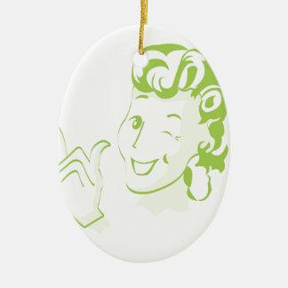 Femme vintage ornement ovale en céramique