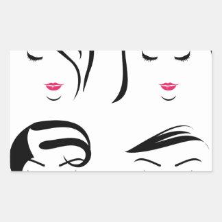 Femmes avec différentes coiffures sticker rectangulaire