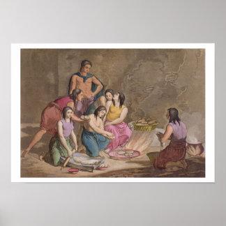 Femmes aztèques faisant le pain de maïs, Mexique,  Poster