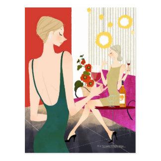 Femmes buvant du vin carte postale