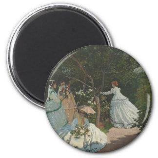 Femmes dans le jardin (1866) magnet rond 8 cm