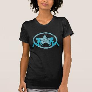 Femmes de bleu de cow-girls d'aileron de boue t-shirt