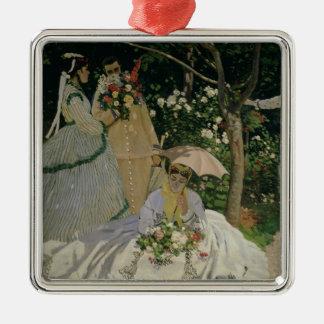 Femmes de Claude Monet | dans le jardin Ornement Carré Argenté