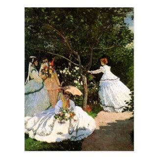Femmes de Monet dans la carte postale de jardin