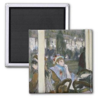 Femmes d'Edgar Degas | sur une terrasse de café, Magnet Carré