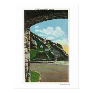 Femmes descendant l'escalier du sommet cartes postales