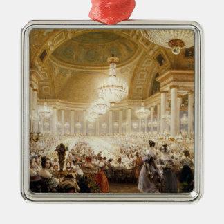 Femmes dinant chez le Tuileries en 1835 Ornement Carré Argenté