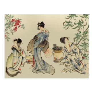 Femmes japonaises en vêtements traditionnels cartes postales