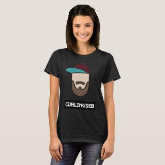 Femmes noires de T-shirt de Curlingseb