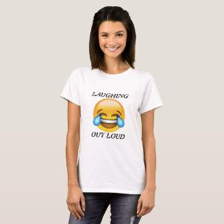 Femmes riant le T-shirt bruyant d'Emoji