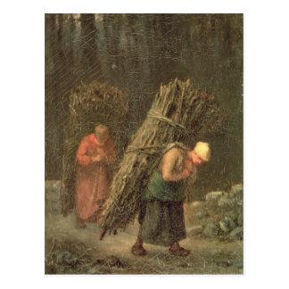 Femmes rurales avec la broussaille, c.1858 carte postale