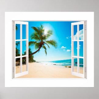 Fenêtre de Faux avec des tailles de coutume de Poster