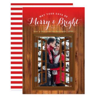 Fenêtre en bois de Faux de joyeuse cerise Carton D'invitation 12,7 Cm X 17,78 Cm