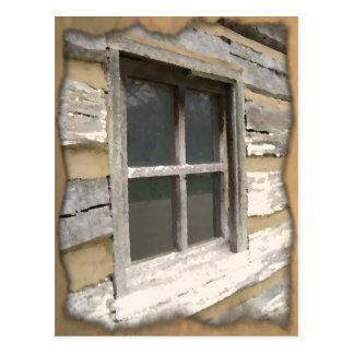 Fenêtre en bois rustique carte postale