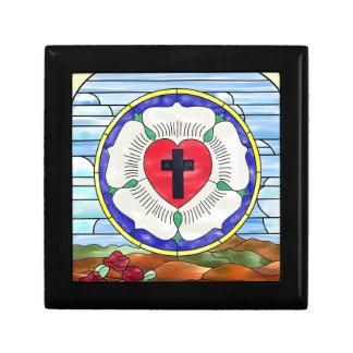 Fenêtre en verre teinté de joint de Luther Petite Boîte À Bijoux Carrée