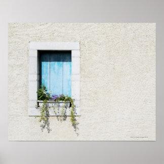 Fenêtre et fenêtre-box des fleurs dans le mur simp posters