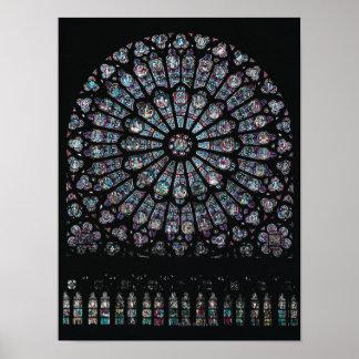 Fenêtre rose de transept du nord posters