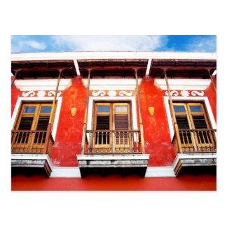 Fenêtres colorées de balcon de San Juan, Porto Cartes Postales