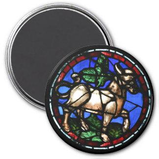 Fenêtres en verre teinté d'astrologie de Taureau - Magnet Rond 7,50 Cm