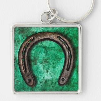 Fer à cheval porte-clé carré argenté