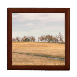 Ferme abandonnée de prairie dans le Dakota du Nord Grande Boîte À Bijoux Carrée