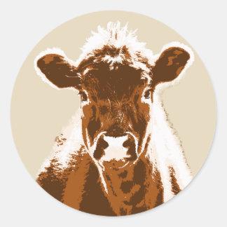 Ferme curieuse de vache à Brown Sticker Rond