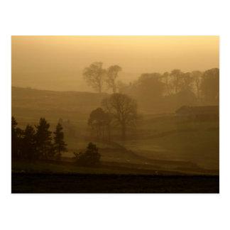 Ferme dans la carte postale de brume de soirée