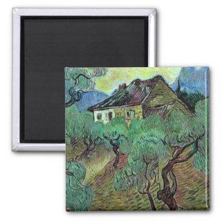 Ferme de Van Gogh parmi les oliviers (F664) Magnets Pour Réfrigérateur