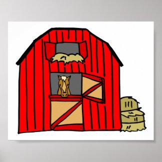 Ferme équine de scène rouge de grange poster