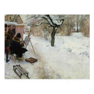Ferme suédoise en hiver carte postale