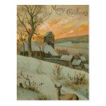 Ferme vintage de Noël avec des cerfs communs Cartes Postales