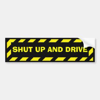 Fermez et conduisez l'autocollant jaune noir de autocollant de voiture