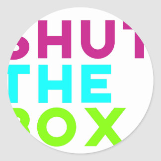 Fermez le logo de boîte sticker rond