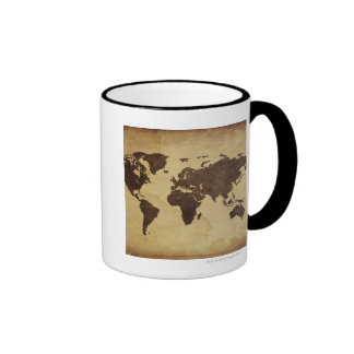 Fermez-vous de la carte antique 3 du monde mug ringer