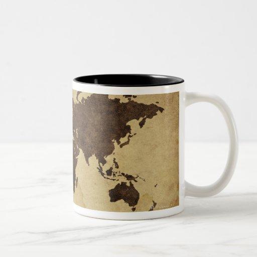 Fermez-vous de la carte antique 3 du monde tasse