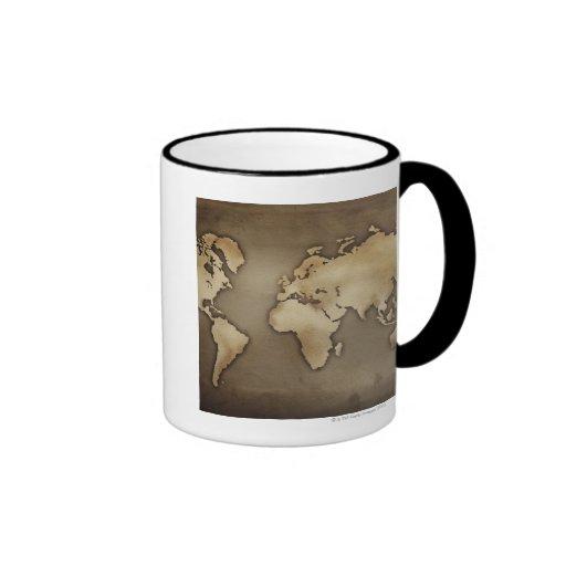Fermez-vous de la carte antique 4 du monde mug à café