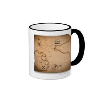 Fermez-vous de la carte antique du monde avec mug ringer