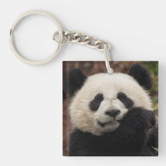 Fermez-vous de la consommation de panda porte-clé carré en acrylique double face