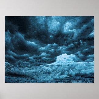 Fermez-vous de la glace bleue, Islande Poster