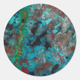 Fermez-vous de Shattuckite bleu Sticker Rond