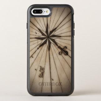 Fermez-vous du rose de vent sur la carte antique coque otterbox symmetry pour iPhone 7 plus