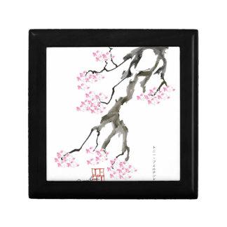fernandes élégants Sakura avec le poisson rouge Petite Boîte À Bijoux Carrée